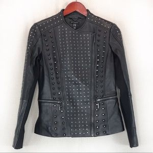 NWOT H by Halson studded moto leather jacket